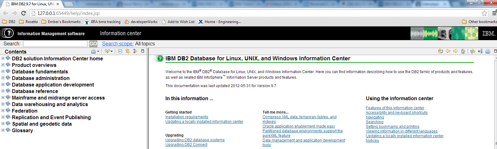Screen shot of the locally installed DB2 9.7 Info Center