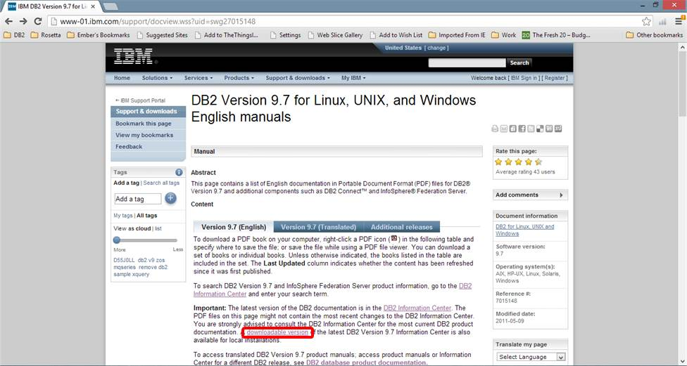 Screen shot of first IBM page for downloading the DB2 info center