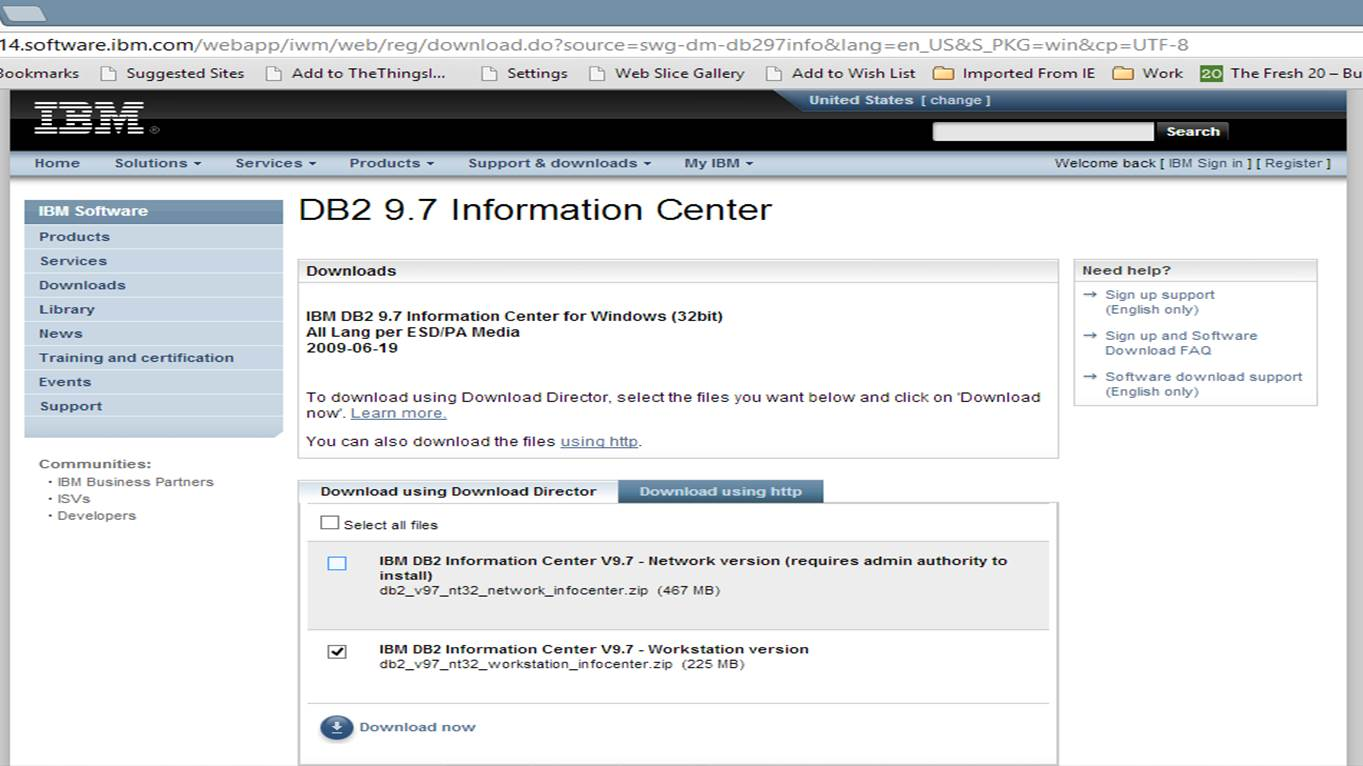 Screen shot of page for downloading the DB2 Info Center