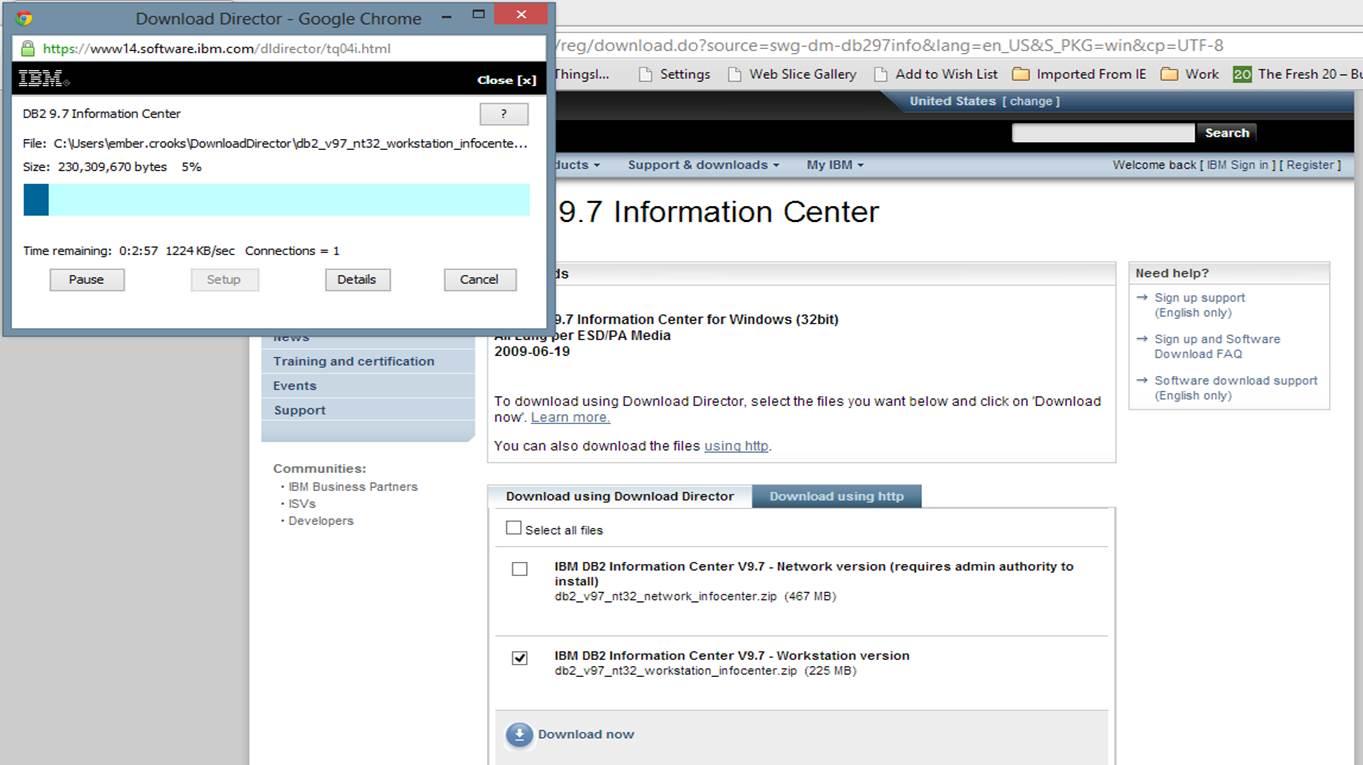 Screen shot of the progress bar