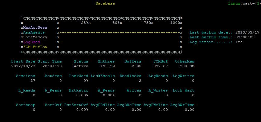 Image of db2top using UTF-8 encoding